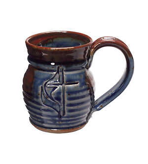 Handmade Cross and Flame Ceramic barrel-shaped Mug - Deep Blue