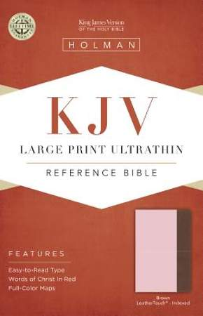 KJV Large Print Ultrathin Reference Bible, Pink/Brown Leathertouch Indexed