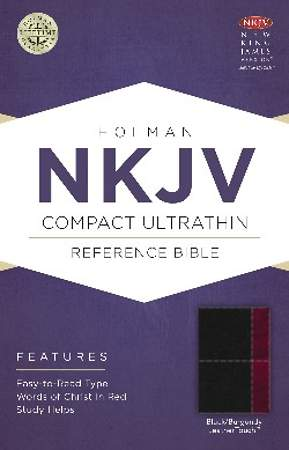 NKJV Compact Ultrathin Bible, Black/Burgundy Leathertouch