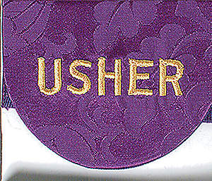 Usher Pocket Badge with Word on Purple Bermberg Damask (Package of 4)