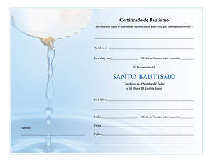 Certificado de Santo Bautismo –Spanish Holy Baptism Certificate- Download