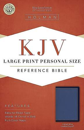 KJV Large Print Personal Size Reference Bible, Cobalt Blue Leathertouch