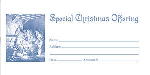 Christmas Offering Envelopes Blue Package of 50