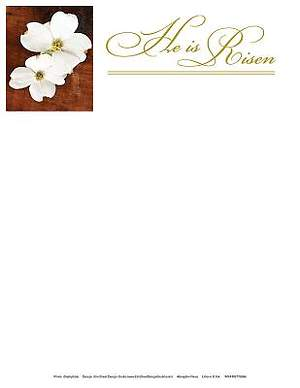 He Is Risen Easter Dogwood Letterhead 2014 (Package of 50)