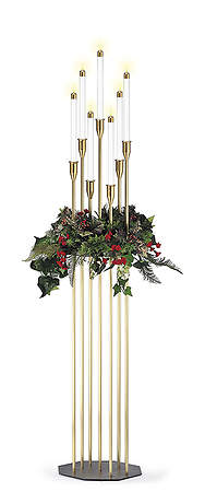 Contemporary 7-Light Floor Model Brasstone Candelabra