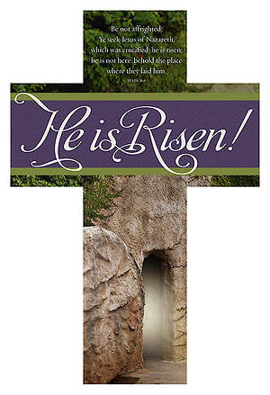 Easter Die-Cut Bookmark - For He is Risen - Mark 16:6 KJV (Pkg 25)