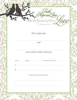 Certificate of Marriage-Faith, Hope, and Love