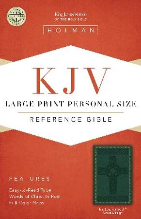 KJV Large Print Personal Size Reference Bible, Green Leathertouch