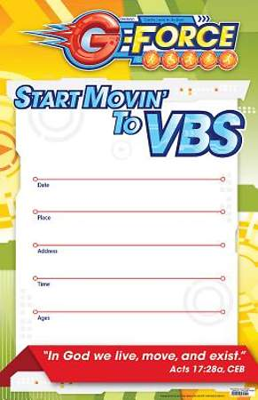 Vacation Bible School (VBS) 2015 G-Force Large Promotional Poster