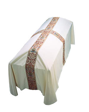 Off White Regal with Tapestry and Metallic Banding Small Funeral Pall 7' x 5'