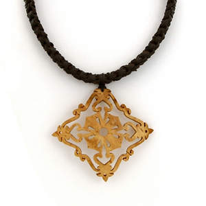 Thai Coconut Necklace - Ornate Diamond-shaped Pendant