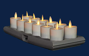 Flameless Candle Rechargeable Votive with Charging Base (Pack of 12)