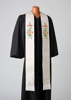White/Agnus Dei Traditional Series Silk Damask 110 Stole