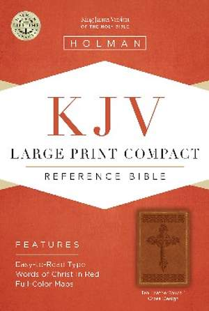KJV Large Print Compact Reference Bible, Tan Leathertouch
