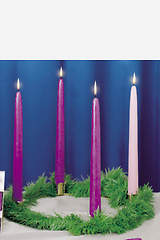 Advent Wreath with Evergreen 3 Purple 1 Rose Candles