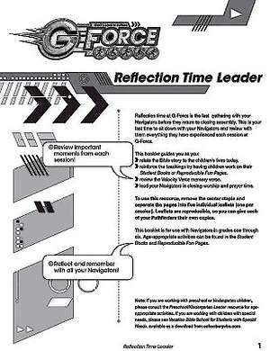 Vacation Bible School (VBS) 2015 G-Force Reflection Time Leader