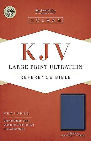 KJV Large Print Ultrathin Reference Bible, Cobalt Blue Leathertouch, Indexed