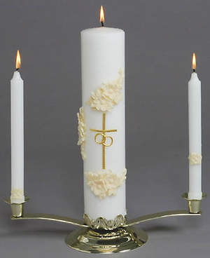 Gold and White Holy Matrimony Candle (Set of 3)