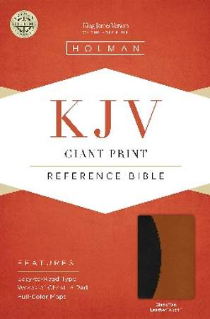 KJV Giant Print Reference Bible, Black/Tan Leathertouch Indexed