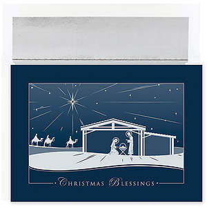 Silver Nativity Christmas Collection Boxed Cards - Box of 16