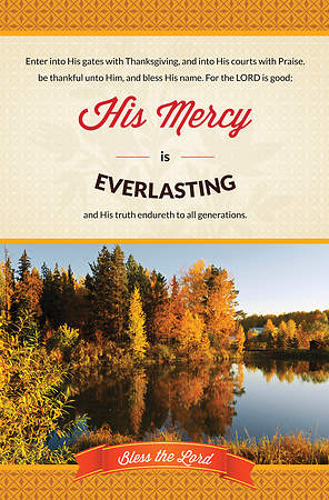 Thanksgiving Bulletin - Psalm 100:4-5 His Mercy (Pack of 100)