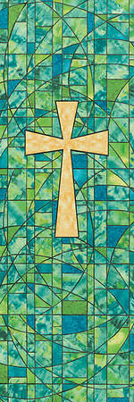 Symbols of Faith Series Stained Glass Cross Banner 2` x 6`