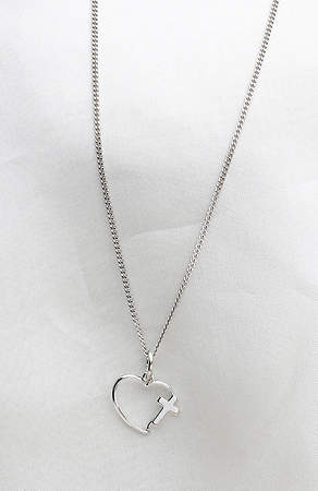 "Sterling Silver Heart Necklace w/Cross - 18"" Chain"