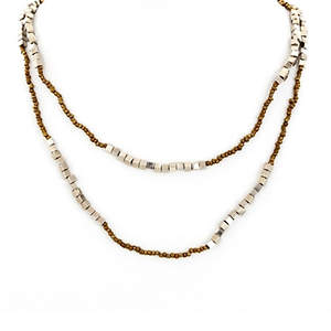 Java Bead and Metal Necklace - Single Strand Long Bronze