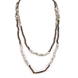 Java Bead and Metal Necklace - Single Strand Long Platinum