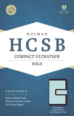HCSB Compact Ultrathin Bible, Brown/Blue Leathertouch with Magnetic Flap