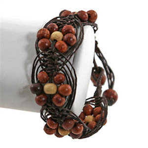 Thai Macrame Bracelet - Wood Flower  Adjustable