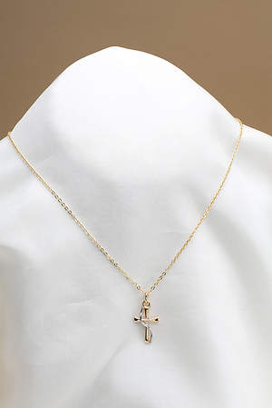 Two-Tone Cross w/Swash & CZ Pendant JC 18 CABLE