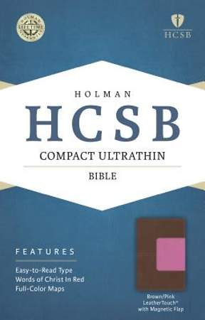HCSB Compact Ultrathin Bible, Pink/Brown Leathertouch with Magnetic Flap