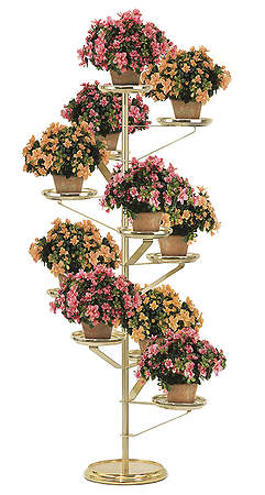 "60"" Solid Brass and Brasstone Aluminum Floor Model Plant Stand"
