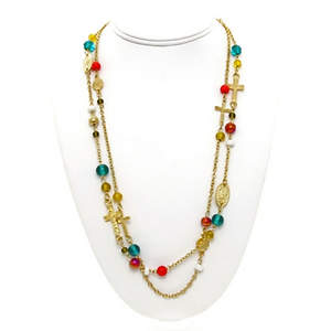 India Christian Necklace - 2-Strand Multi-color