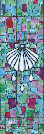 Symbols of Faith Series Stained Glass Baptism Shell Banner 2` x 6`