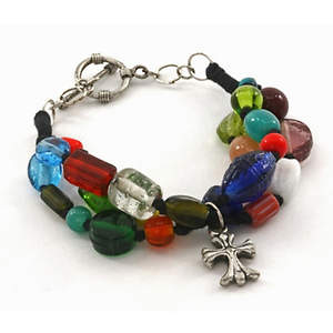 India Christian Glass Bead Bracelet - 3-strand
