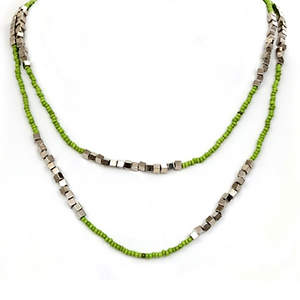 Java Bead and Metal Necklace - Single Strand Long Lime
