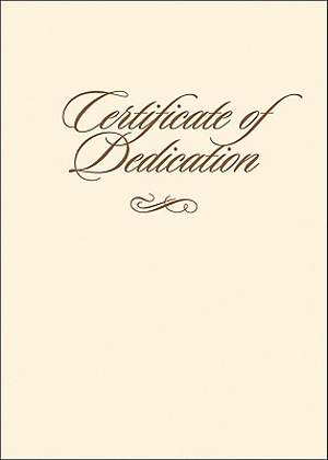 Certificate of Dedication