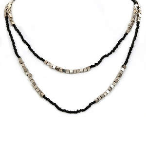Java Bead and Metal Necklace - Single Strand Long Black