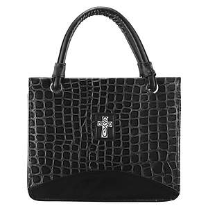 Crocodile Embossed Purse Style Large Black Bible Cover