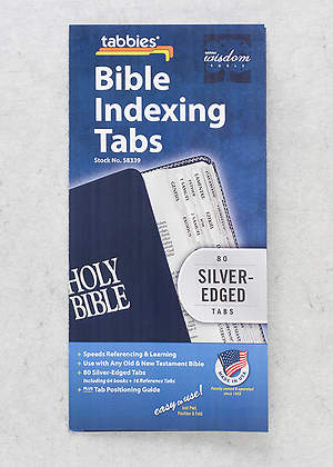 Bible Tab: Clear Tab with Silver Center Strip and Black Lettering