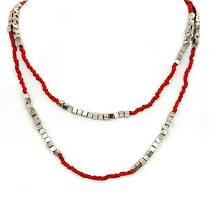 Java Bead and Metal Necklace - Single Strand Long Red
