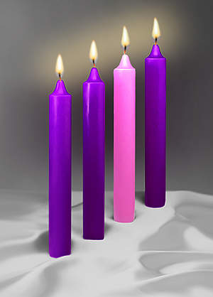 "Advent Candles 17""  X 1 1/2"" 51% Beeswax 3 Purple 1 Rose"