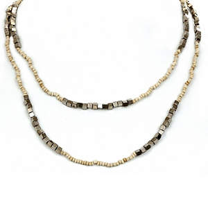 Java Bead and Metal Necklace - Single Strand Long - Cream
