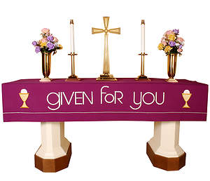 Vision Series Purple Altar Frontal with Given for You with Chalices