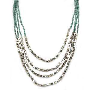 Java Draping Beaded Necklace - Turquoise