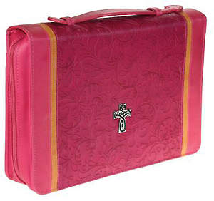 Pink Two-Tone Luxleather with Cross Large Bible Cover