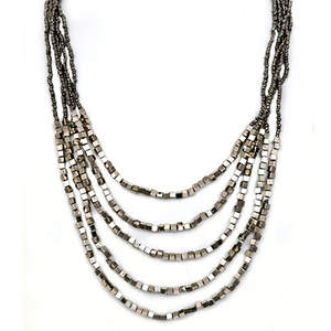 Java Draping Beaded Necklace - Platinum