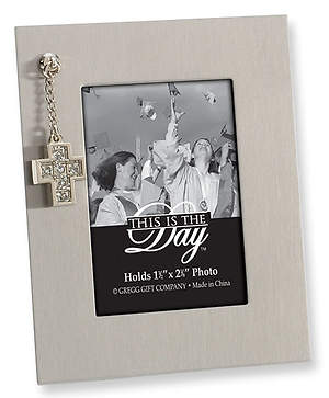 Silver Frame with Dangling Cross Charm